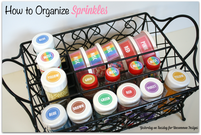 Get those sprinkles organized with tips and free printables #organizing #baking