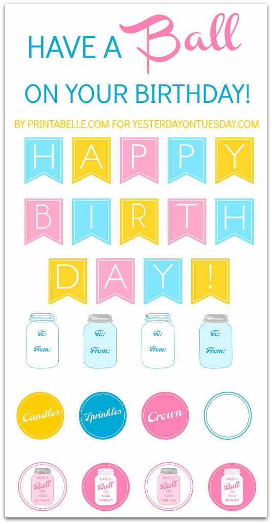 Birthday Mason Jar Printables including a banner, gift tags, labels and more #masonjars #birthday