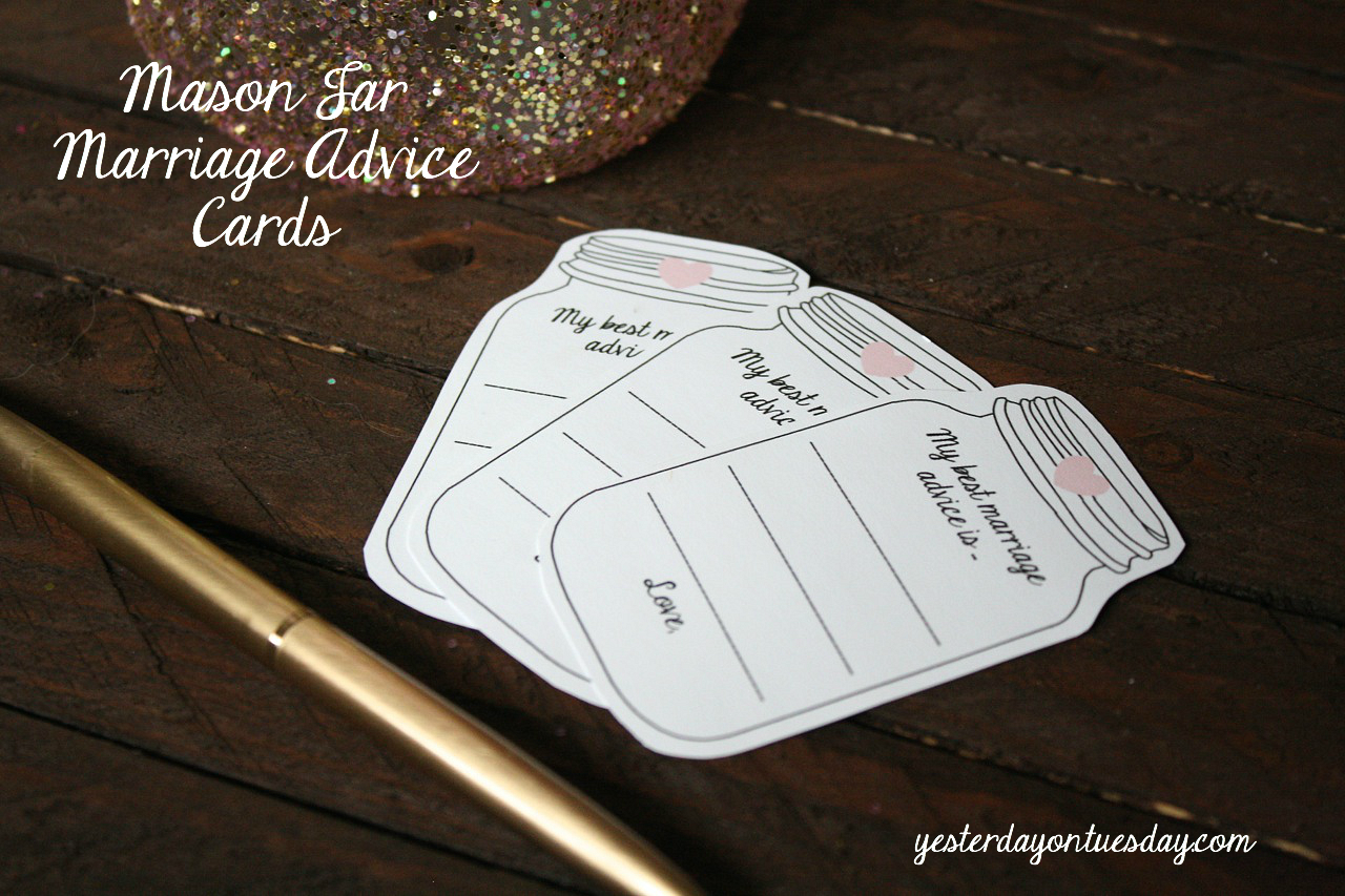 Glitter Mason Jar And Marriage Advice Cards