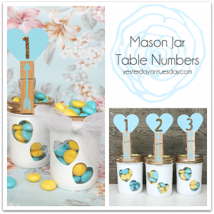 DIY Mason Jar Table Numbers for weddings or any special party or event