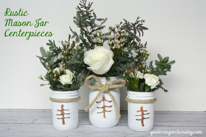 Rustic Mason Jar Centerpieces perfect for wedding receptions #masonjars #wedding