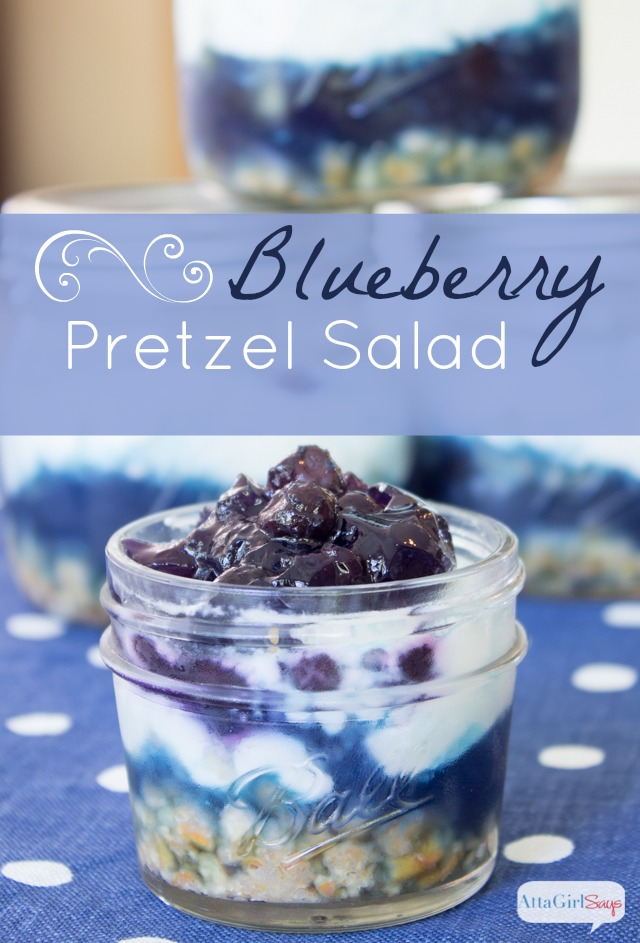 Blueberry Pretzel Salad by Atta Girl Says
