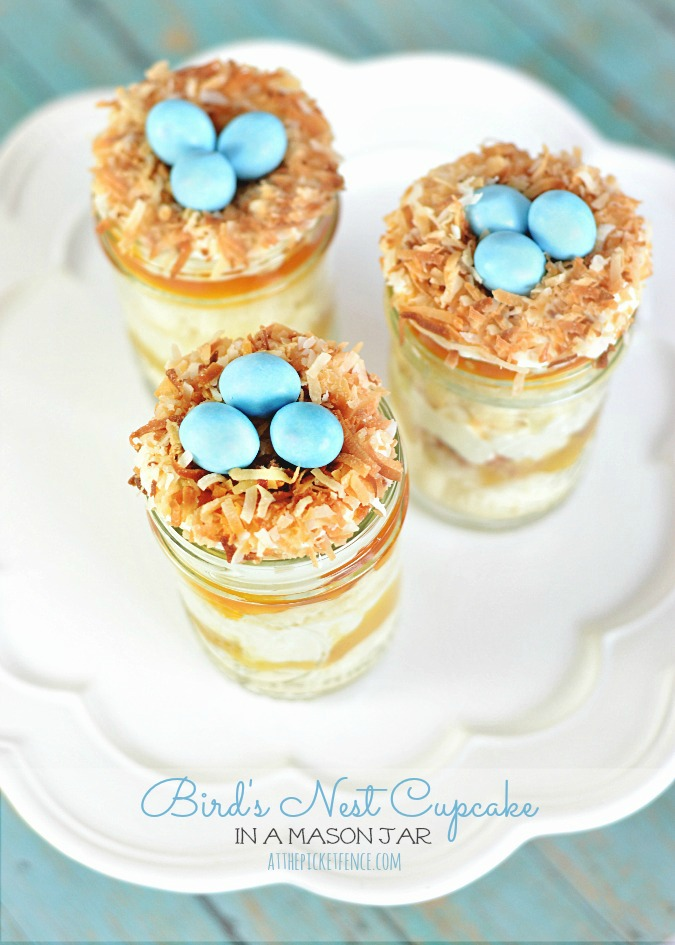 Bird's Nests Cupcakes in a Jar by At the Picket Fence