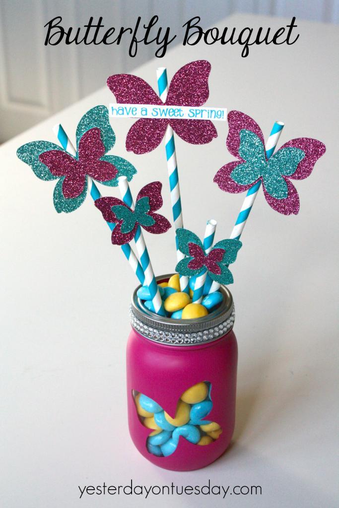 Butterfly Bouquet in a Mason Jar, festive spring decor or gift idea