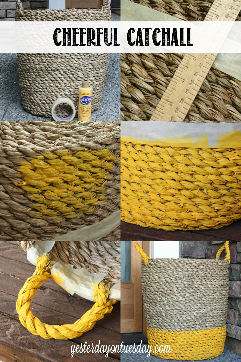 Brighten up a plain basket and turn it into a Cheerful Catchall