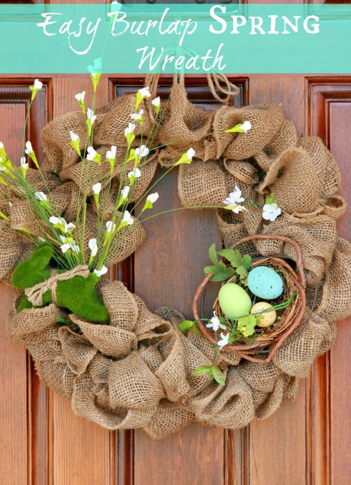Easy Burlap Spring Wreath