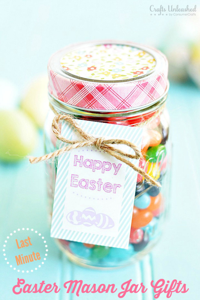 Mason Jar Easter Gift from Crafts Unleashed