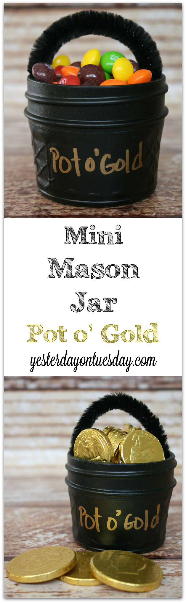 A whimsical St. Patrick's Day gift idea: Mini Mason Jar Pot o' Gold #masonjars