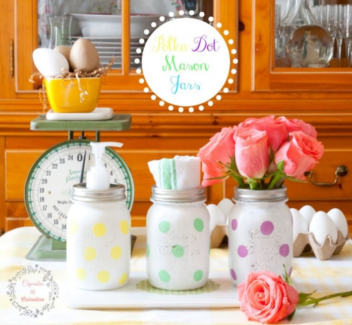 Polka Dot Mason Jars from Cupcakes and Crinoline