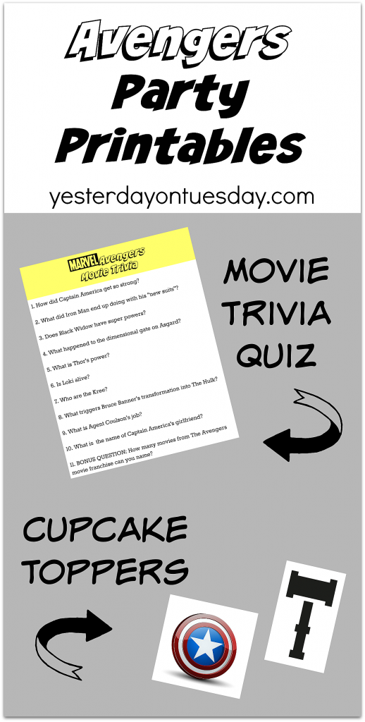 Fun Avengers Party Printables including a movie trivia quiz and cupcake toppers