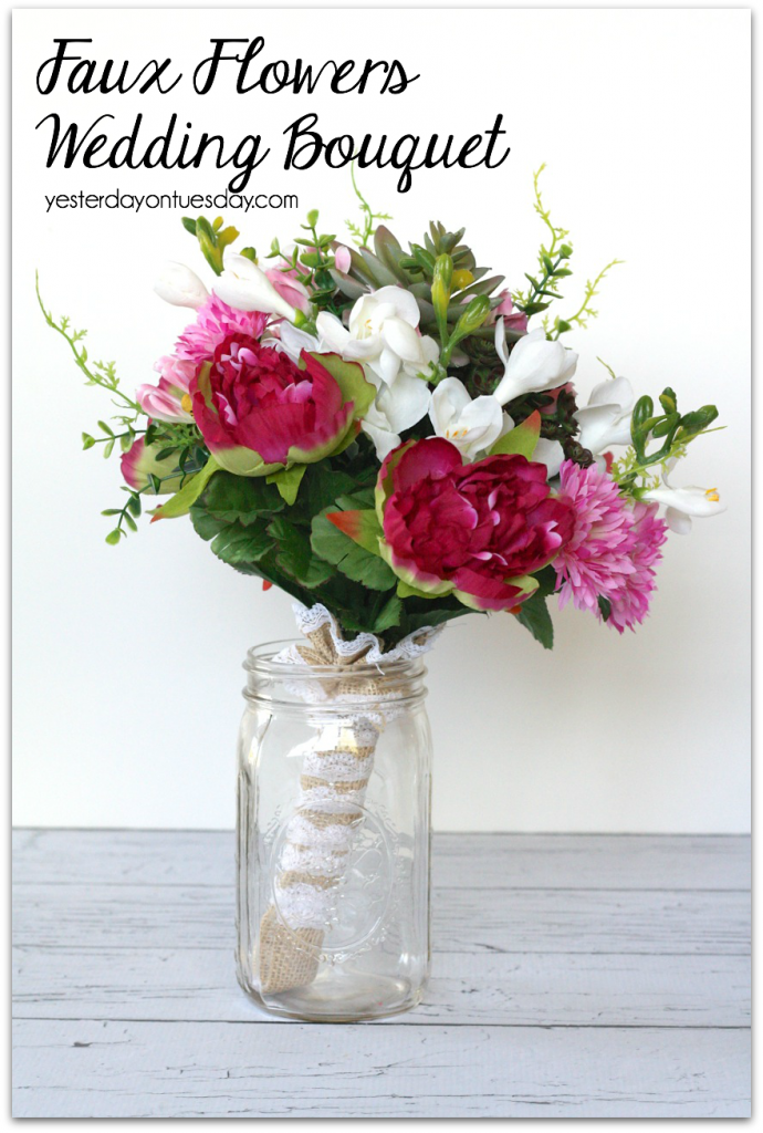 Faux Flowers Wedding Bouquet, a great way to save money!