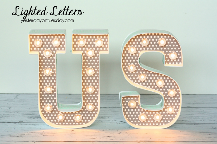 Fun DIY Lighted Letters, perfect for a wedding reception.