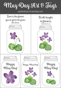 Mason Jar themed printable May Day Art and tags