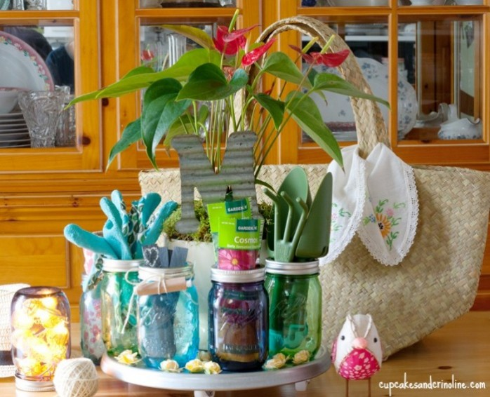 Gardening Mason Jar gift from Cupcakes and Crinoline