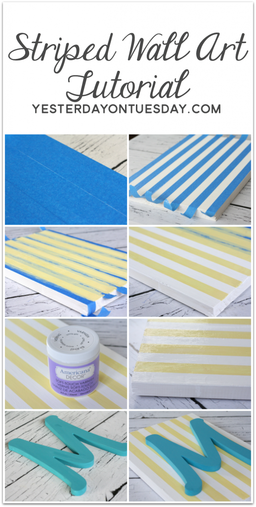 DIY Striped Wall Art with Americana Decor Chalky Finish Paint