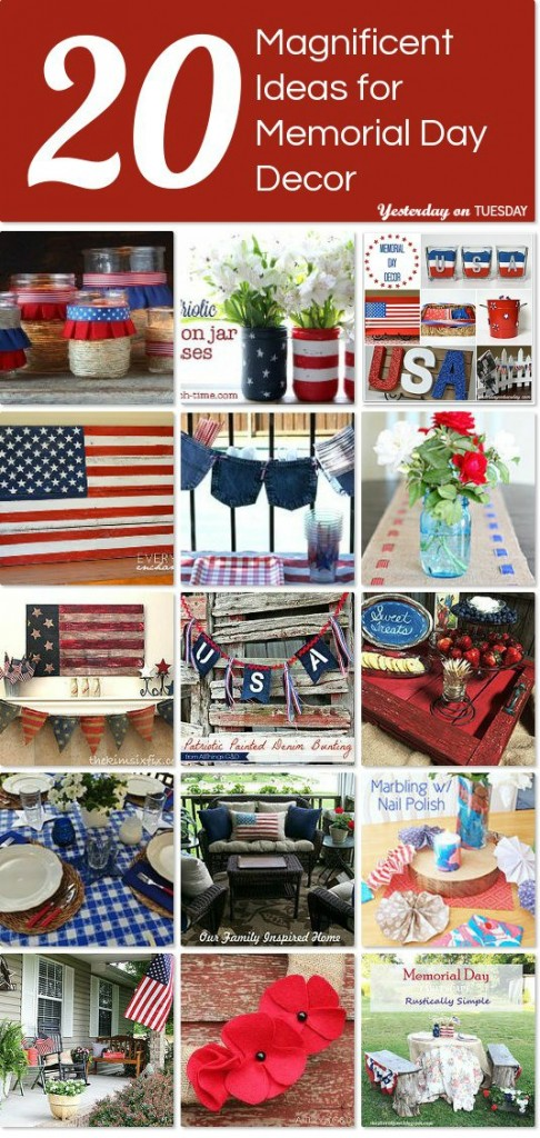 More that 20 Magnificent Ideas for Memorial Day Decor. Inspiring red, white and blue ideas for your home and garden.