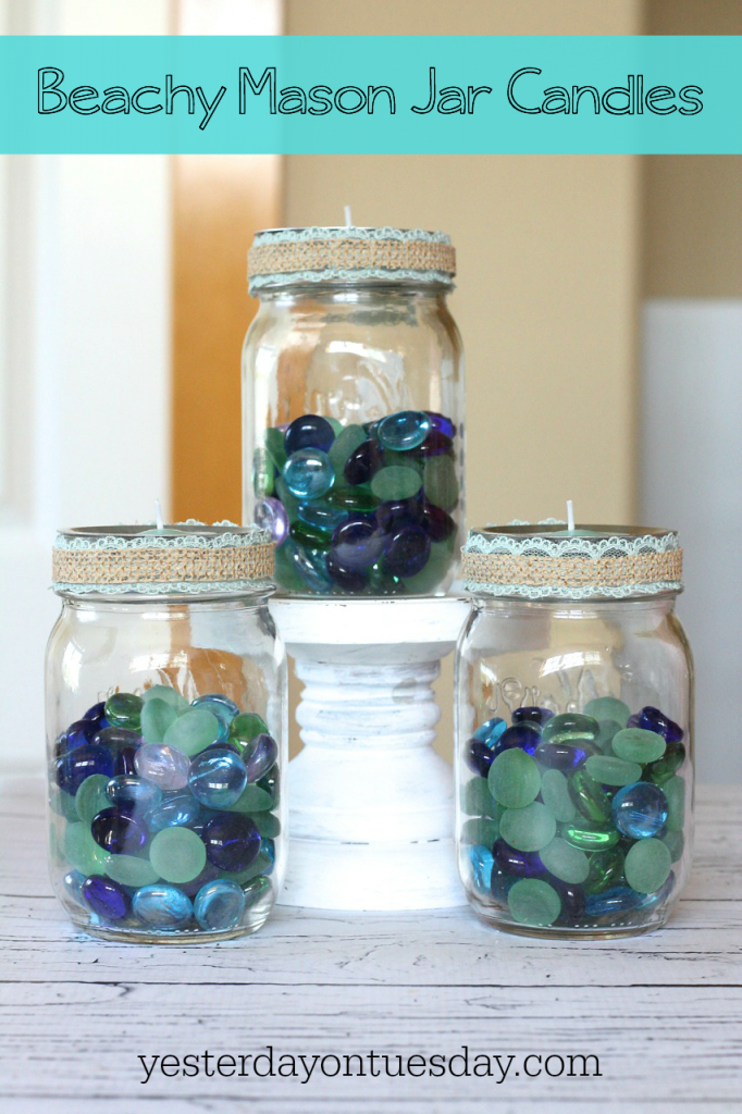 3 Beachy Mason Jar Candle Ideas: How to style your Mason Jars three different pretty ways, perfect for summer decor or entertaining at the beach or at the lake!