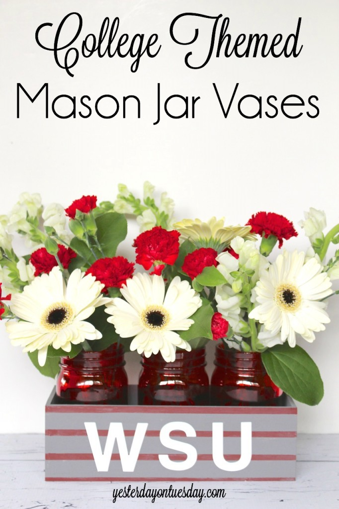 College Themed Mason Jar Vases, great party deceptions for the graduate