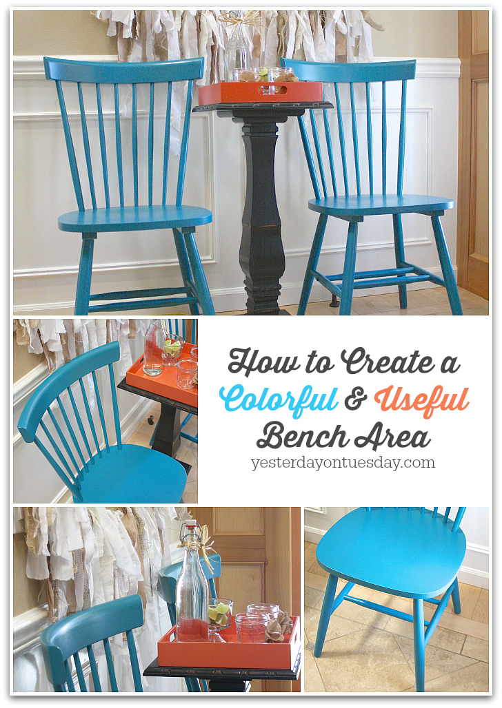 Tips on creating a bench area in your home, using colorful chairs instead! Cool decorating idea.