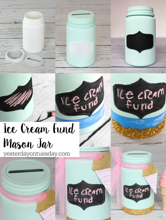 DIY Ice Cream Fund Mason Jar, a fun way to recycle a Mason Jar plus free printable art.