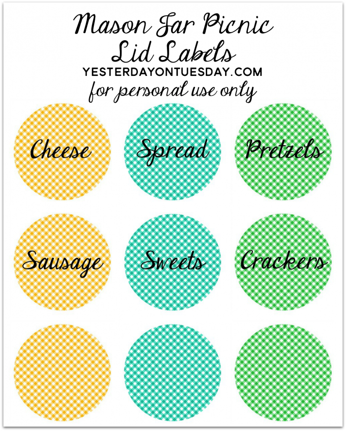 graphic relating to Free Printable Mason Jar Lid Labels identified as Mason Jar Picnic Yesterday Upon Tuesday