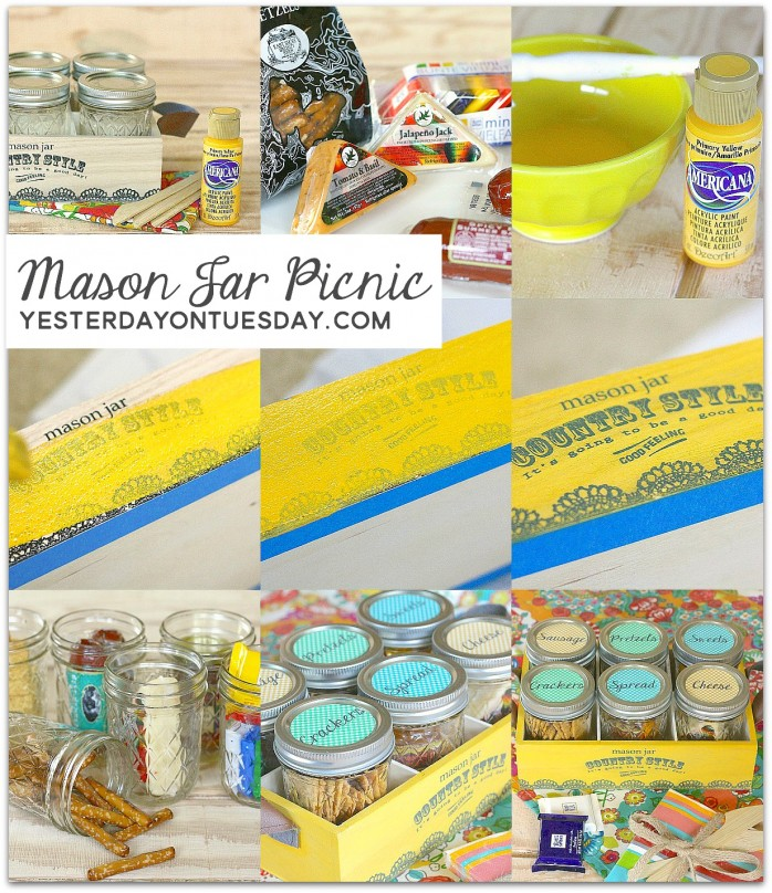 How to put together a fun and delicious Mason Jar Picnic! A great gift for Dad, grads or for a wedding. Fun summertime craft.