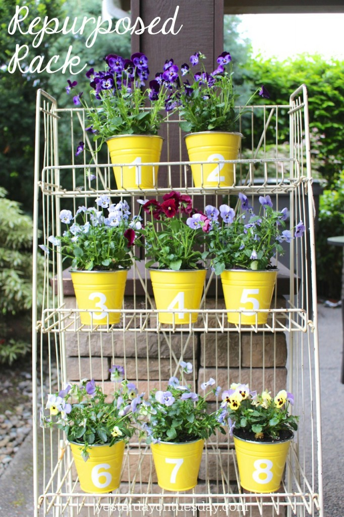 How to transform a metal rack into a pretty place to display flowers.