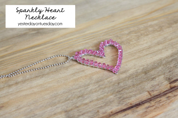 How to transform a silver heart into a Sparkly Heart Necklace.