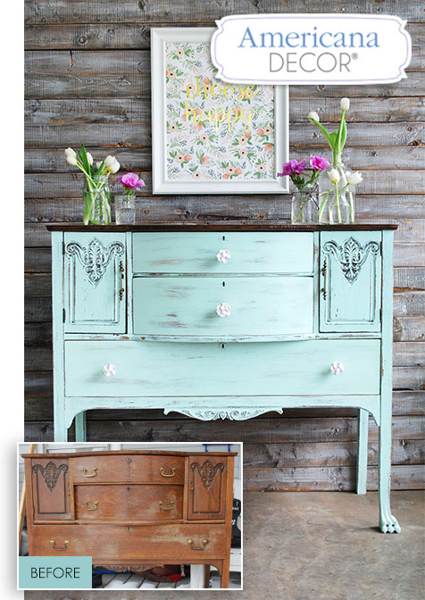 Refurbish that flea market find or hand-me-down piece that just doesn't fit in with your decor with Americana Decor Chalky Finish. Send pictures of your project to us to enter to win fabulous prizes! #chalkyfinish #secondchances