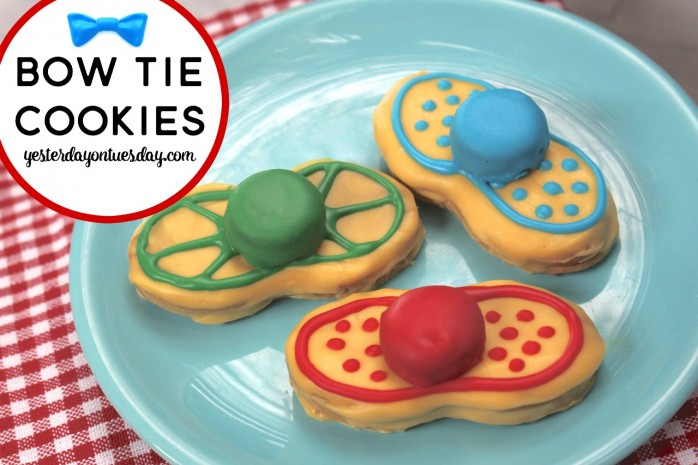 Easy Bow Tie Cookies for Father's Day, a great recipe for kids to make to celebrate Dad!