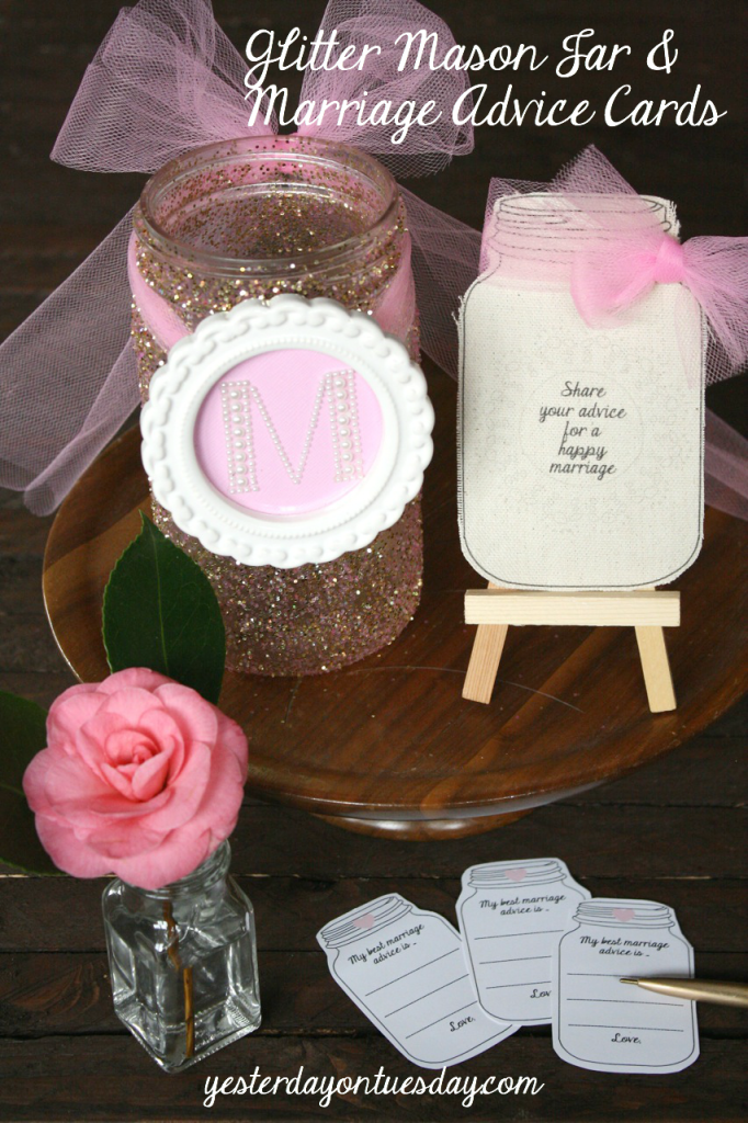 Glitter Mason Jar and free marriage advice printables