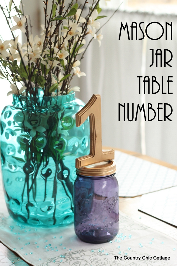 Mason Jar Table Number