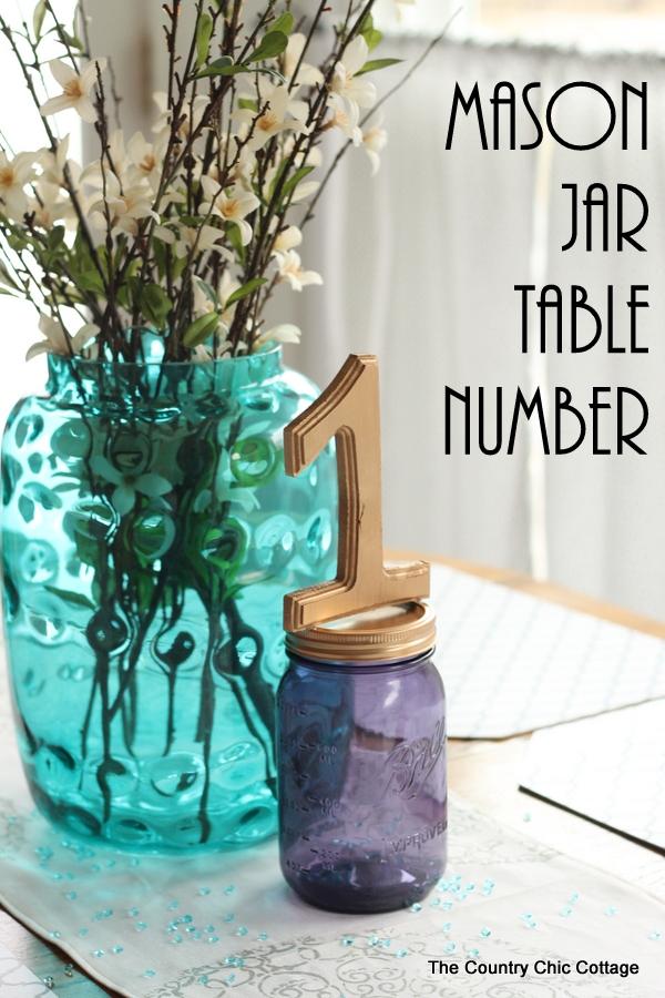 Mason Jar Table Number