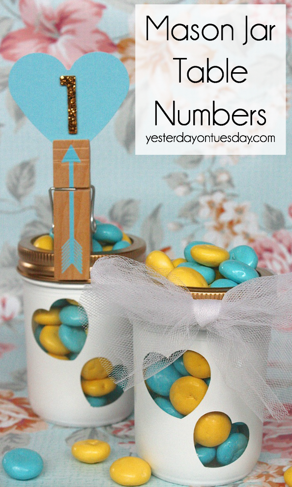 Mason Jar Table Numbers for a wedding or special occasion.