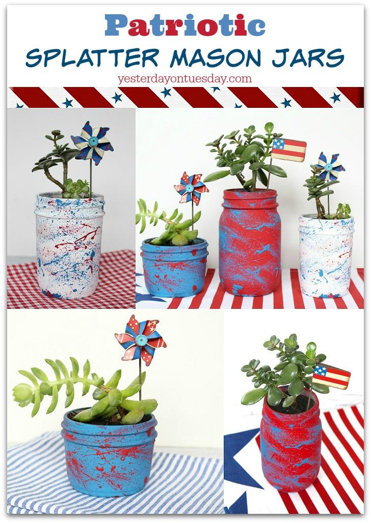 Patriotic Splatter Mason Jars