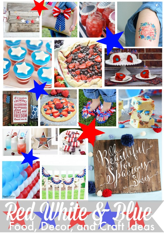 Red White and Blue Food Decor and Craft Ideas, perfect for 4th of July and Memorial Day! TONS of great ideas.