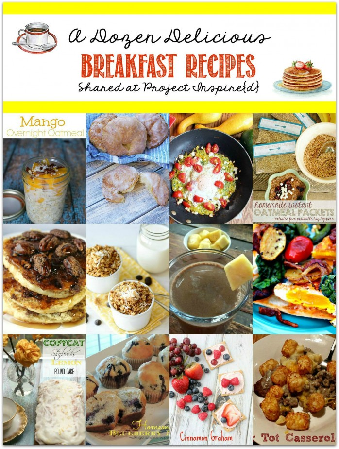 One to pin! A fabulous collection of a dozen delicious breakfast recipes from smoothies to oatmeal, croissants and casseroles, all shared at Project Inspire{d}.