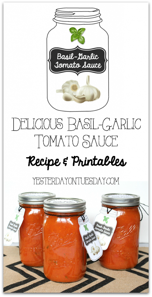 Delicious Basil-Garlic Tomato Sauce Recipe and canning tips.