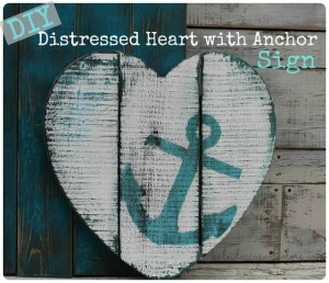 Distressed Heart with Anchor Sign