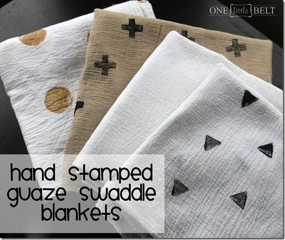 Hand Stamped Guaze Swaddle Blankets