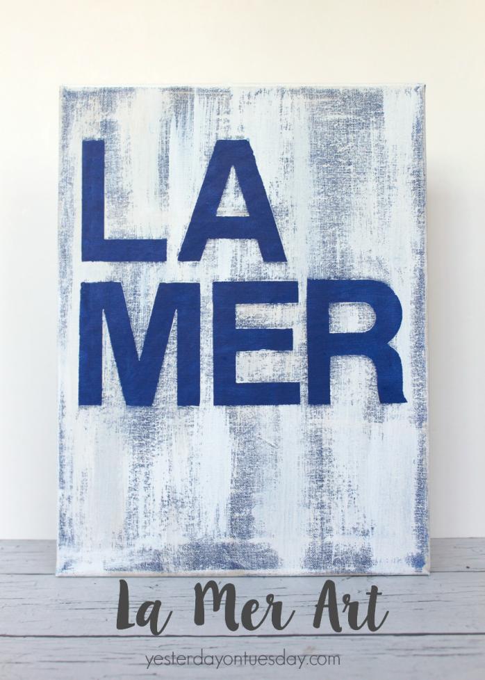 DIY La Mer Art, a Ballard Designs Knockoff for a fraction of the cost!  Stunning budget friendly beachy decor idea.