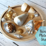 DIY Painted Metallic Shells, a designer knockoff for a fraction of the price. Great beachy decor idea.