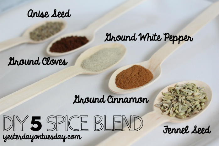 "How to make your own Five Spice Blend, a staple of Chinese cuisine! Plus an amazing mason jar hack, how to get a ""free"" lid and printable labels."