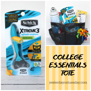 What to put in a College Essentials Tote for your son, nephew or cousin going off to college.