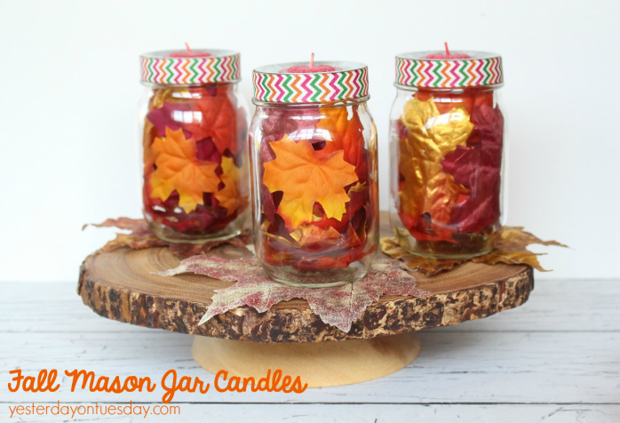Mason Jars with Leaves