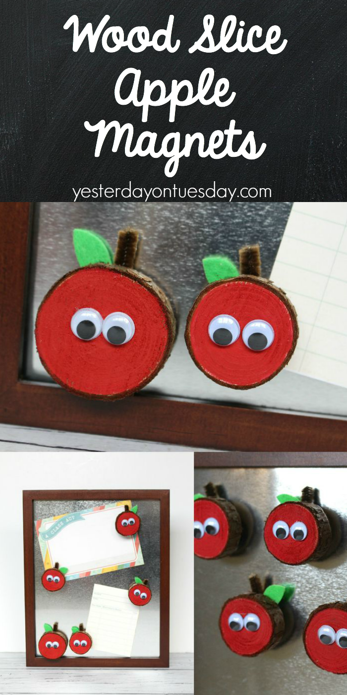 Wood Slice Apple Magnets