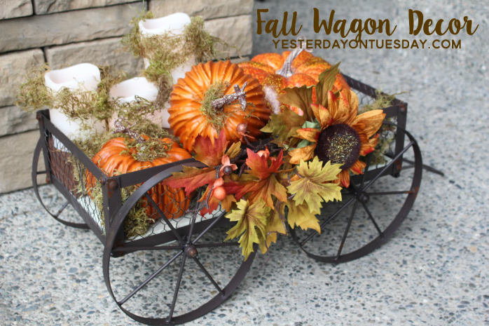 Lovely Fall Wagon Decor to dress up your doorstep
