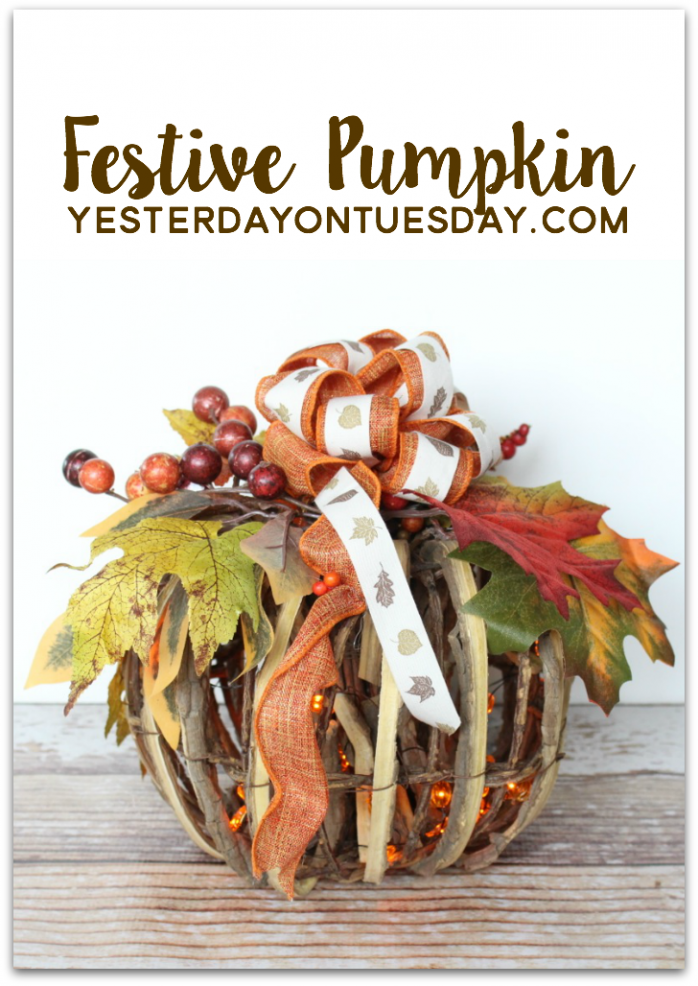 How to dress up a plain wicker pumpkin for fall decorating.