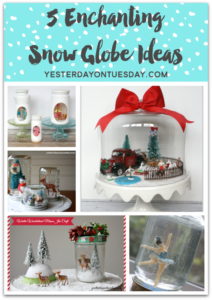 5 Enchanting Snow Globe Ideas to make for winter and Christmas! Charming craft and decor ideas.