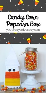 Transform a popcorn box into a candy corn gift plus enter this giveaway to win prizes from your favorite craft companies